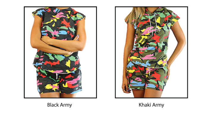 CODE101 Casual Top and Shorts Set