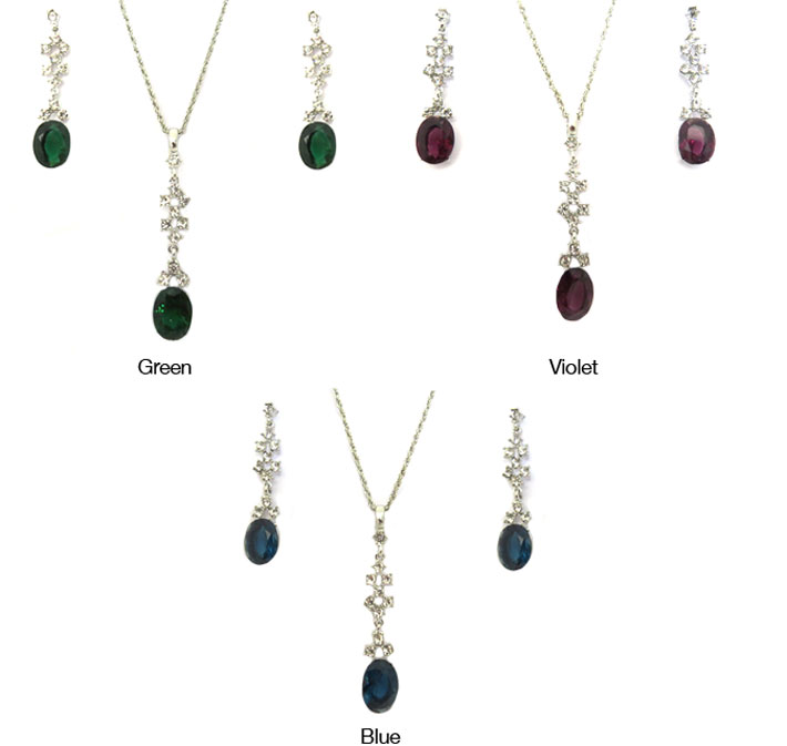 Dangling Crystal Necklace & Earring Set