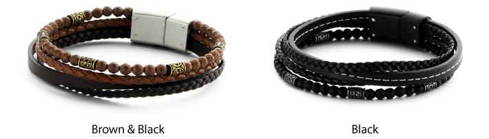 Frank Leather with Hematite Beads Multi-Layered Bracelet