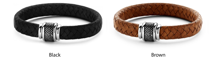 Frank Braided Leather Bracelet For Men