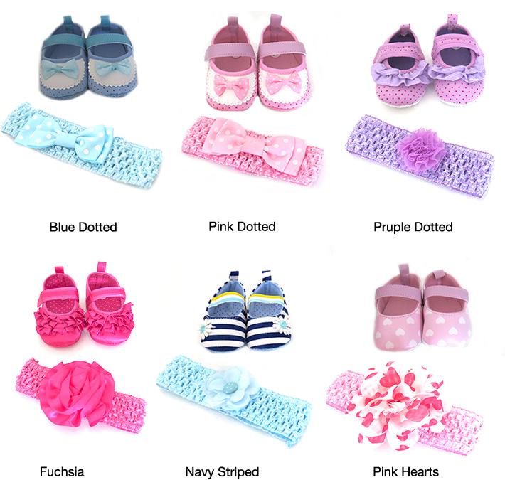 Newborn Girl's Shoes with Headband