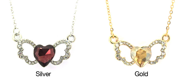 Crystal Heart Stone with Zirconia Wings Necklace