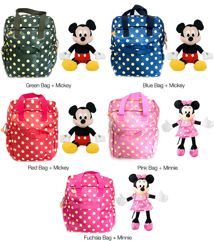 Minnie & Mickey Mouse Bag with Plush Toy